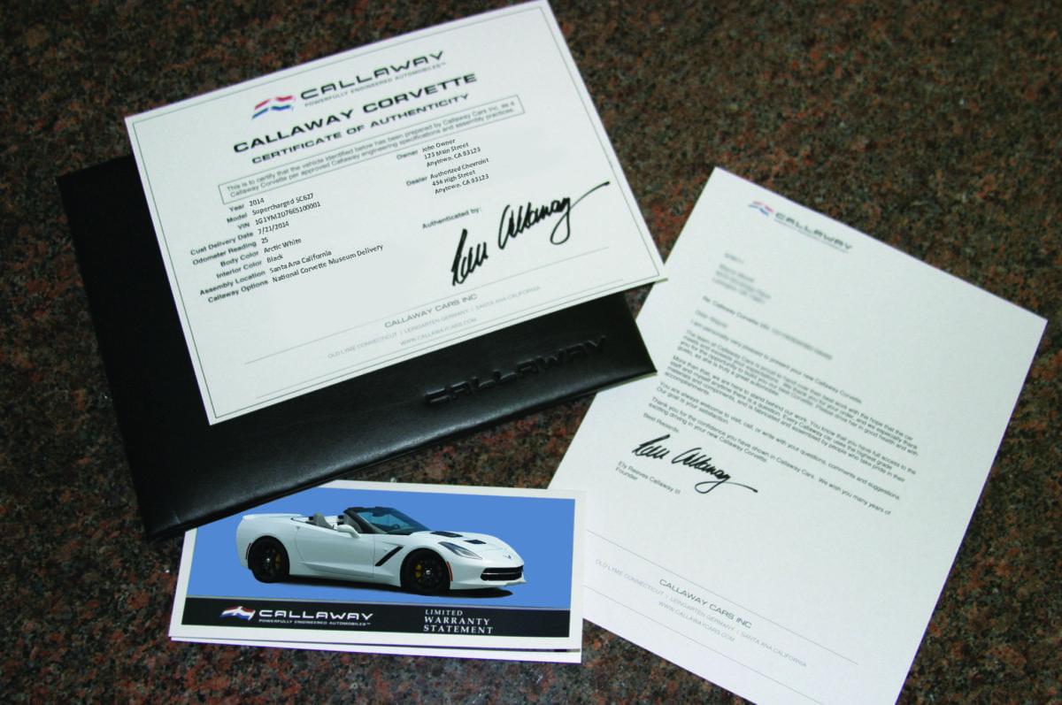 Callaway Corvette Authenticity Documentation Package