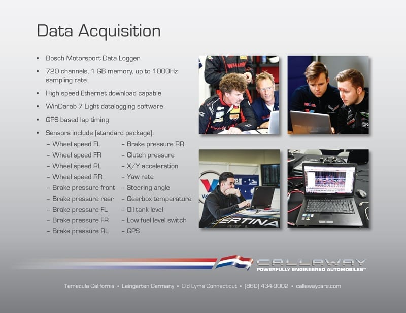 Callaway Corvette C7 GT3-R Data Acquisition