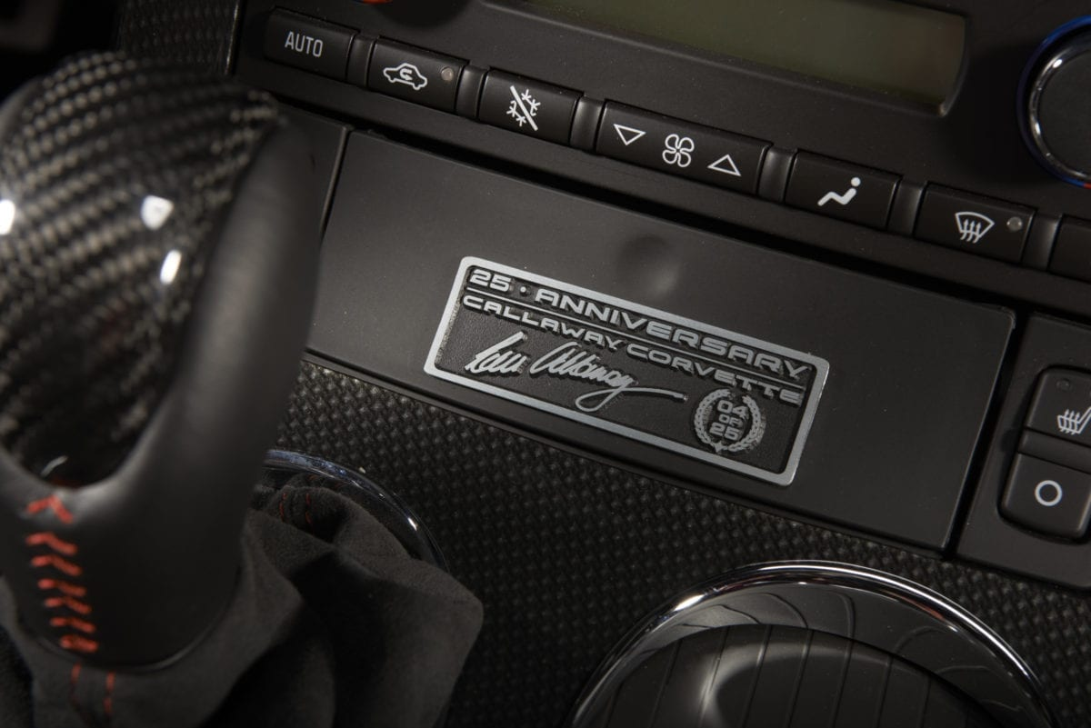Callaway Corvette RPO B2K Dash Plaque