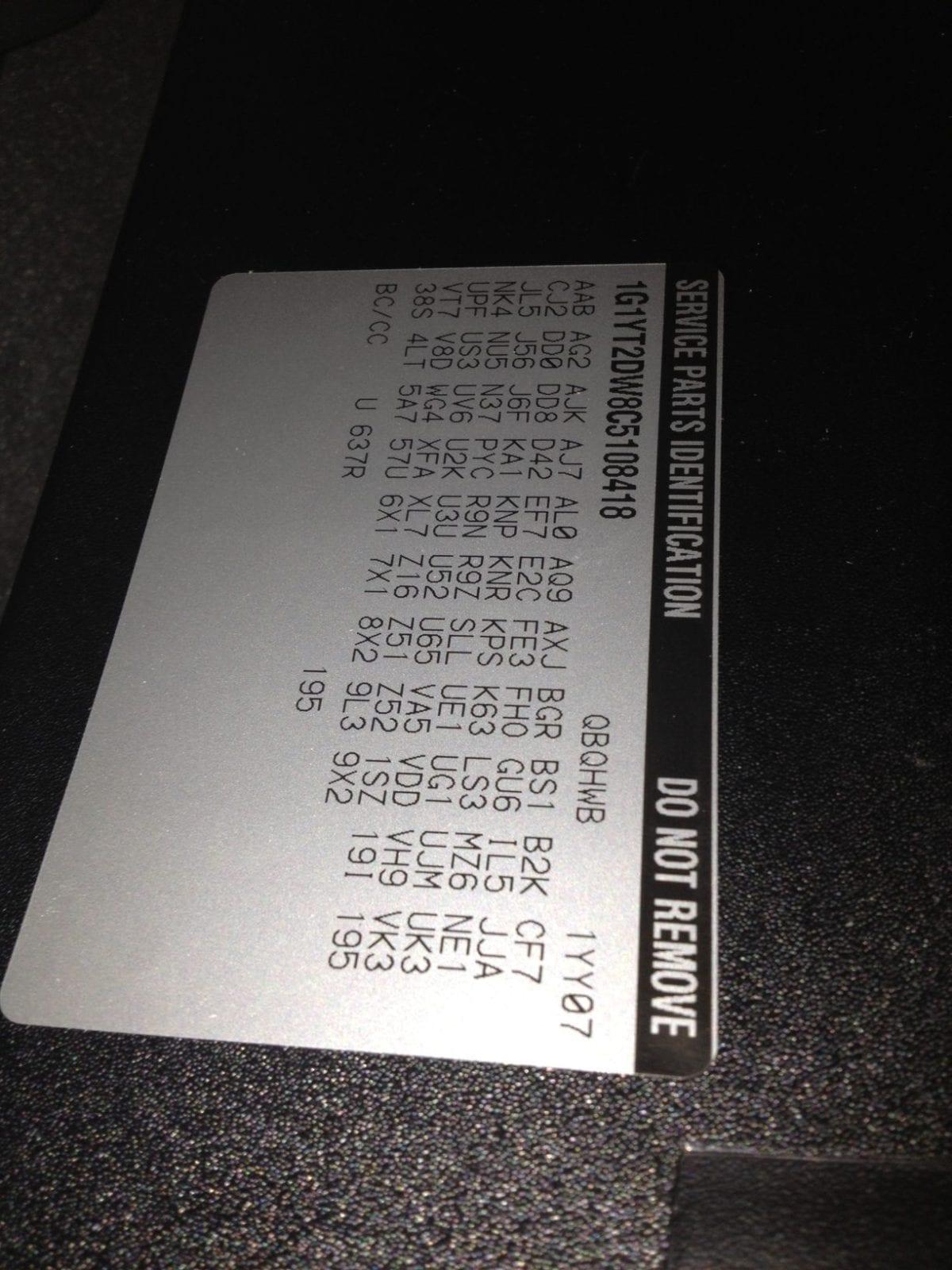 Callaway Corvette RPO B2K Code Sticker