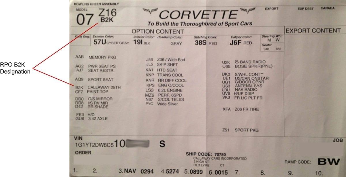 Callaway Corvette RPO B2K Build Sheet