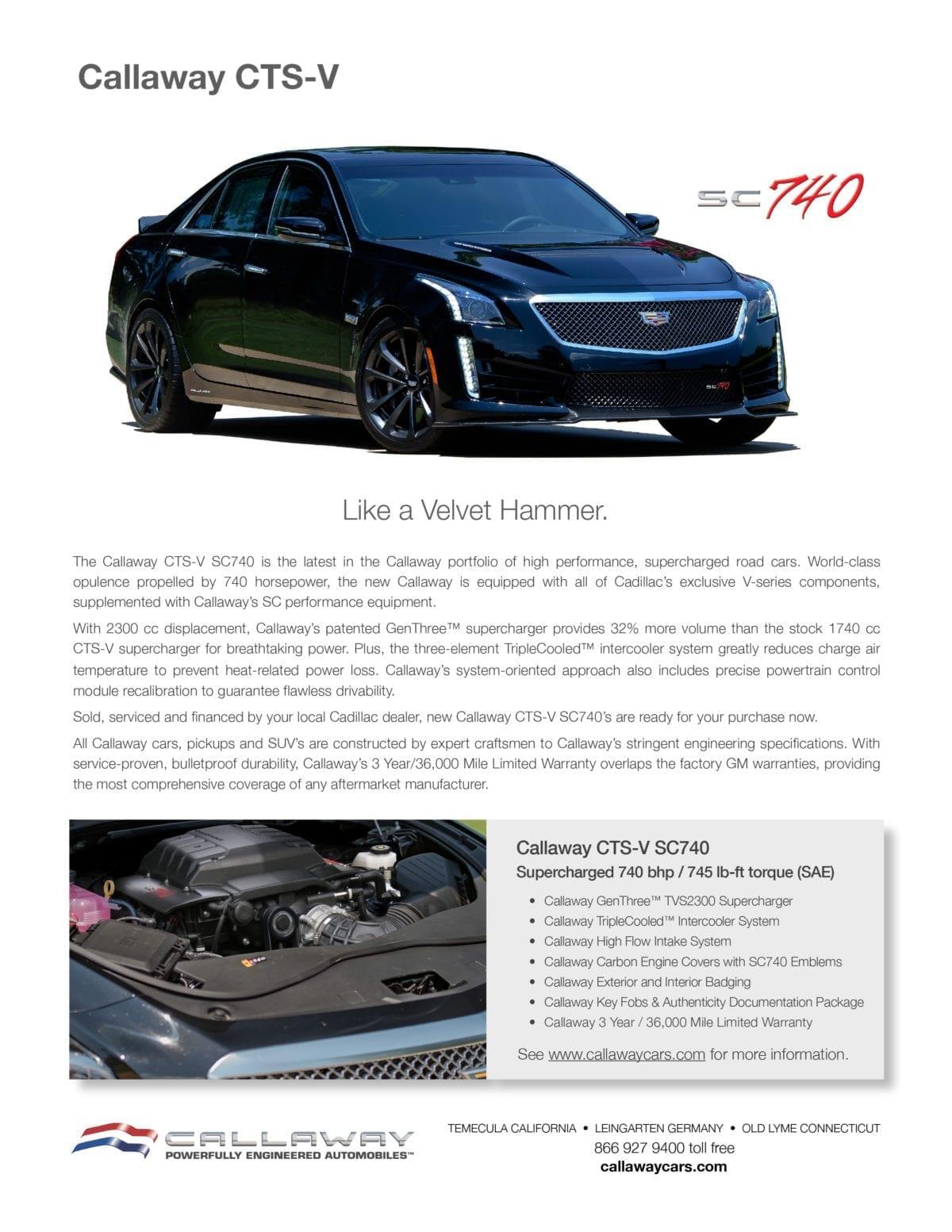 Callaway CTS-V SC740 Info Sheet