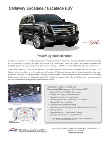 Callaway Escalade SC560 Info Sheet