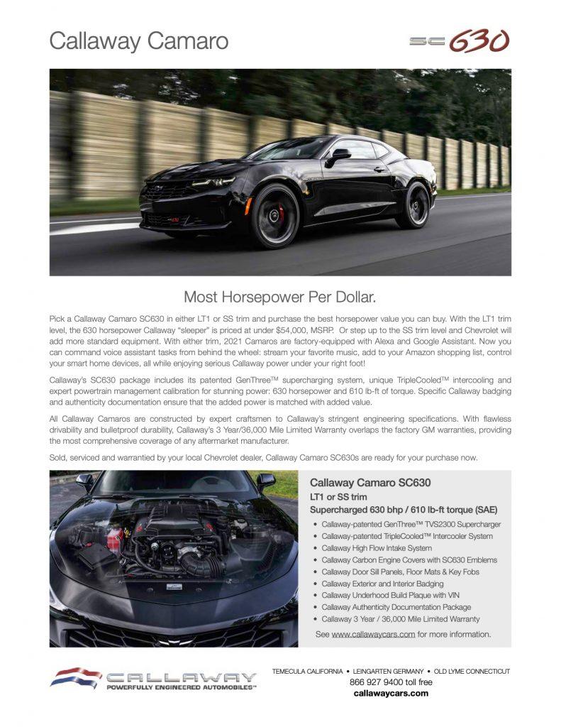 Callaway Camaro SC630 Info Sheet