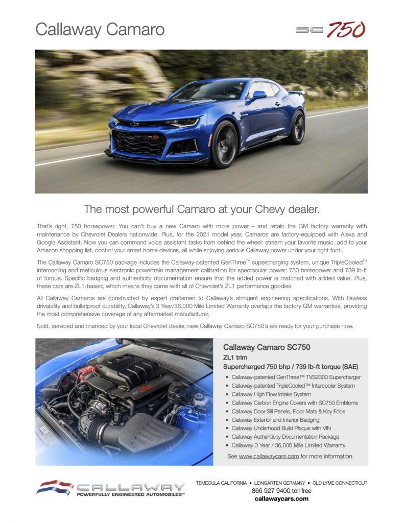 Callaway Camaro SC750 Info Sheet