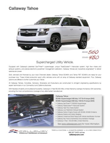 Callaway Tahoe SC480 / SC560 Info Sheet