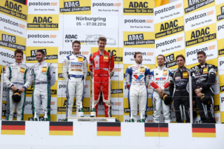 Jules Gounon and Daniel Keilwitz on the Nürburgring Podium - 2016