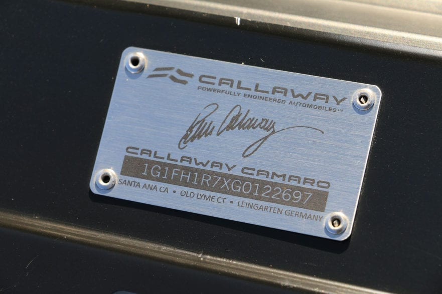 Callaway Camaro Underhood Plaque