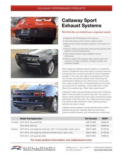 Callaway Sport Exhaust System Info Sheet