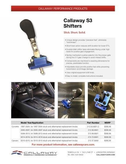 Callaway S3 Shifter Info Sheet