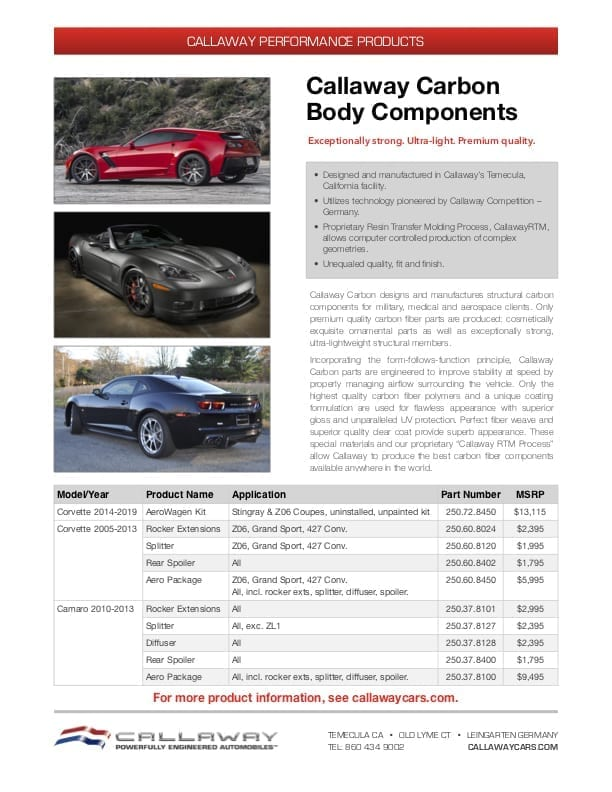 Callaway Carbon Body Components Info Sheet