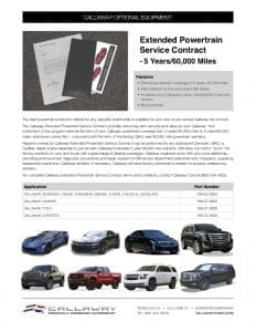 Extended Powertrain Service Contract Info Sheet