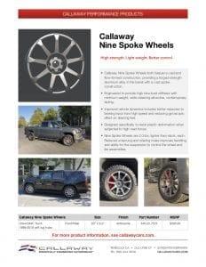 Callaway Nine Spoke Wheels Info Sheet