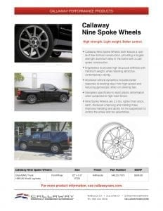 Callaway Nine Spoke Wheels Info Sheet