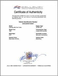 Alfa Romeo GTV-6 Callaway Twin-Turbo Certificate