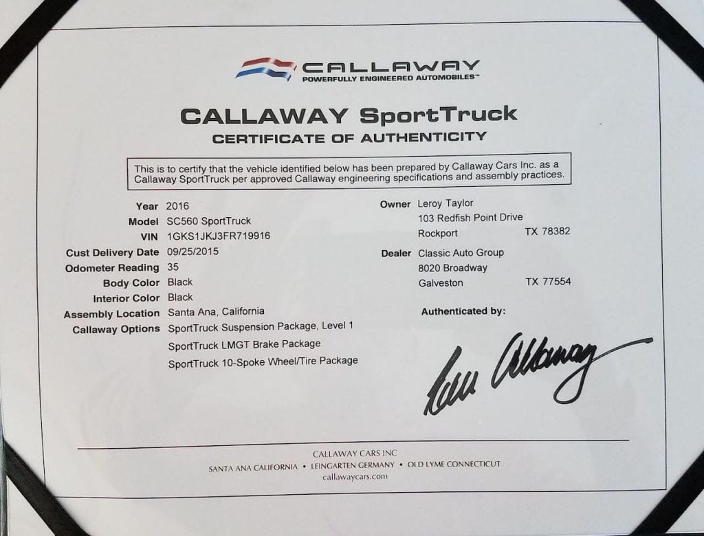 2015 Callaway Yukon XL Denali SC560 - Certificate of Authenticity
