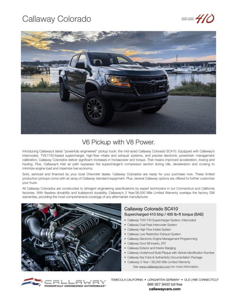 Callaway Colorado SC410 Info Sheet