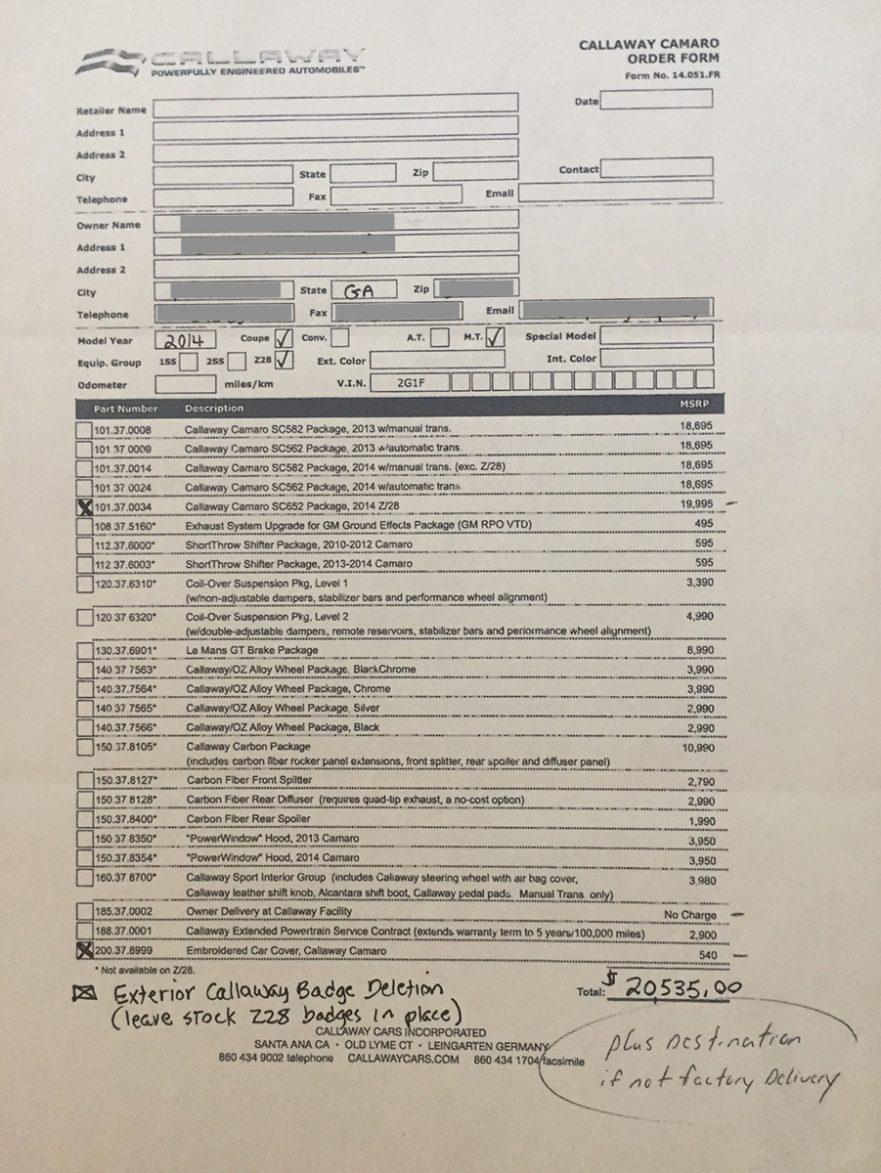 Callaway Camaro Order Form - 2014