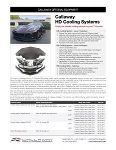 Callaway HD Cooling System Info Sheet