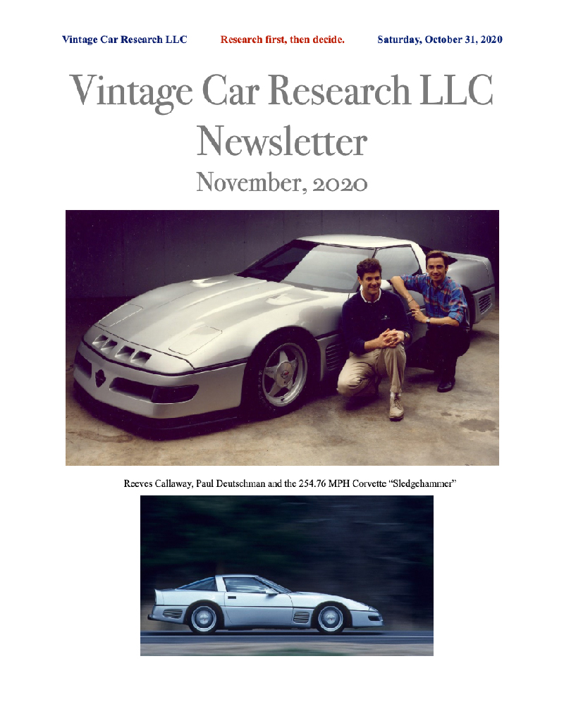 Vintage Car Research LLC Newsletter