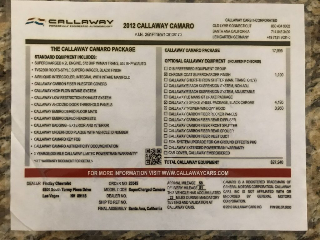 2012 Callaway Camaro Supplemental Window Sticker