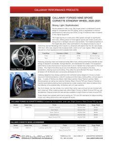 CALLAWAY FORGED NINE-SPOKE C8 CORVETTE STINGRAY WHEELS Info Sheet